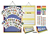 SchKIDules 2-in-1 Complete Collection Bundle Visual Schedule: Daily Kids Calendar and Weekly Responsibility Chart All in One; 18'' Trifold Magnetic Board, 132 Activity Magnets and 57 Accessory Magnets