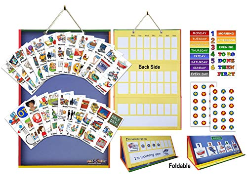 SchKIDules 2-in-1 Complete Collection Bundle Visual Schedule: Daily Kids Calendar and Weekly Responsibility Chart All in One; 18