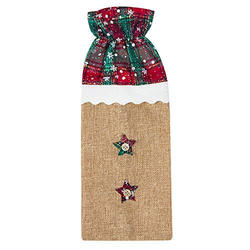 (DZT1968  Christmas Wine Bottle Cover Ornament Clothes Set Xmas Santa Reindeer Table Decor -Christmas Tree, Double Star, Single Star, Santa Claus (B))