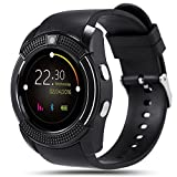 AMENON Bluetooth Smart Cell Phone Watch,Round Touch Screen Bracelet Wrist with SIM,SMS Reminder Pedometer Activity Fitness Tracker Sleep Monitor for Android phones and IOS(Sweat Resistant)