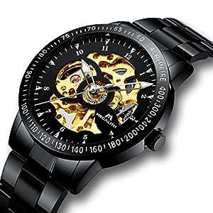 Relojes Hombre Reloj Mecánico Automático Deportes Impermeable Oro Esqueleto Lujo Diseño Relojes de Pulsera de Acero Inoxidable Negro Luminosos Analógico