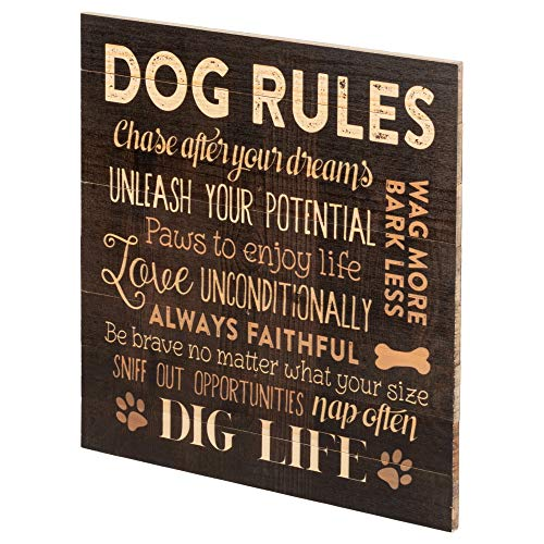 Dog Rules Paw Prints 12 x 12 Wood Pallet Design Wall Art Sign Plaque