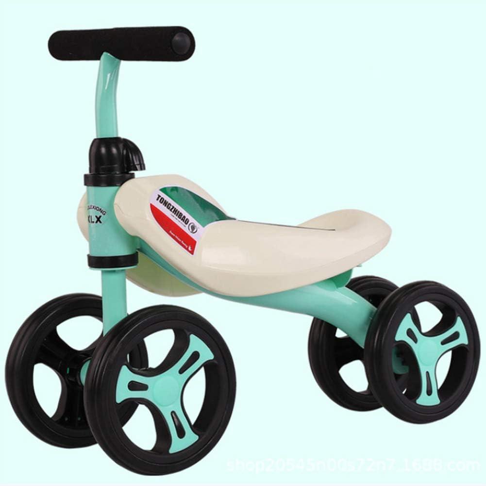 DFSSD Niño de Bicicletas, Ride-On Baby Walker, PP Marco de plástico, n-Pedal, música y luz, límite de dirección, Primer Regalo de la Bici del bebé, 12-36 Meses Juguetes,Verde