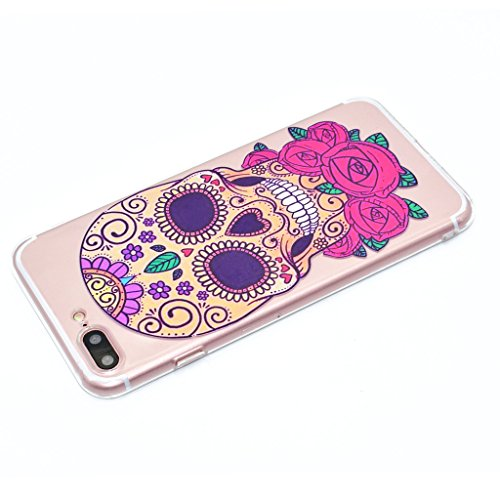 "iPhone 7 Plus Coque , Leiai Mode Crâne Ultra-mince Transparent Silicone Doux TPU Housse Gel Etui Case Cover pour Apple iPhone 7 Plus 5.5"""