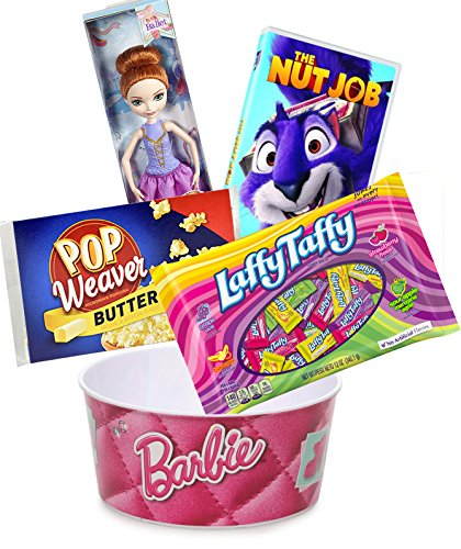 Princess Popcorn Movie Night sleepover Laffy Taffy Fun Set / Cartoon Nut Job & Microwave popcorn with Barbie bowl / Ever After High Doll Candy & Jokes set Sour Apple, (Manzana Apple Halloween)