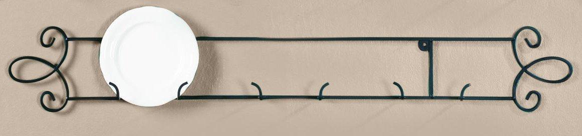 Augusta Black Horizontal Plate 35.75''W Wall 3-Place Rack