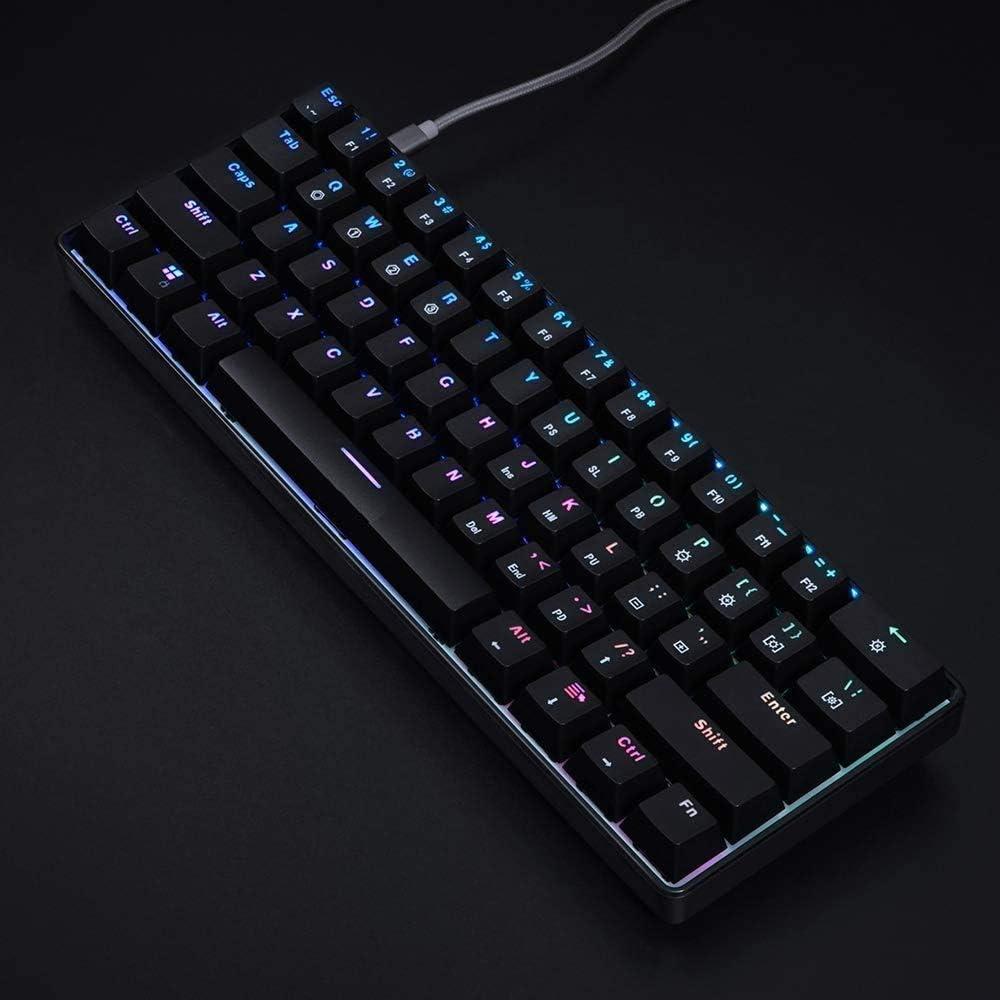IP67 Waterproof Wrist Rest Mechanical Keyboard Erg 61 Keys Optical Switch Multi-Color RGB LED Backlit Wired Gaming Keyboard