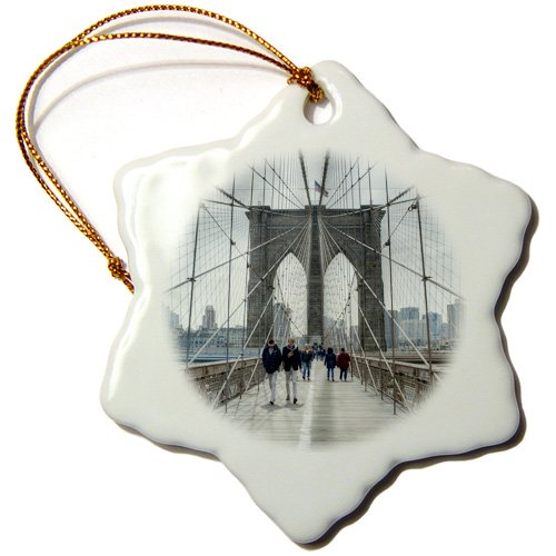 (3dRose ORN_184645_1 Brooklyn Bridge Walk Snowflake Ornament, Porcelain, 3-Inch)