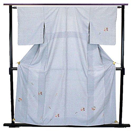 紬 付下げ 花紋 飛び柄 シンプル たたき染め 水色 カジュアル 正絹 着物 きもの リサイクル レディース 70171166