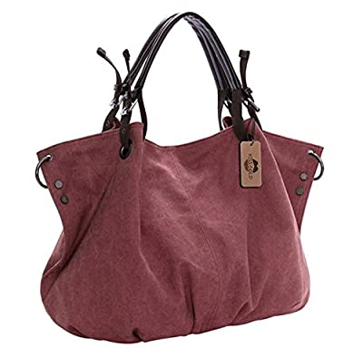 KISS GOLD(TM) European Style Canvas Large Tote Top Handle Bag Shopping Hobo Shoulder Bag, Size 22 '' X6.3'' X 14.2 ''