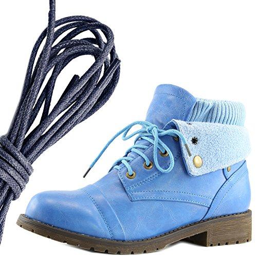 Dailyshoes Da Donna Stile Combattimento Lace Up Maglione Stivaletto Alla Caviglia Con Taschino Per Porta Carte Di Credito Tasca Porta Soldi, Blu Nav