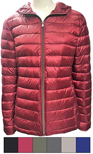 Harvey & Jones Ultra Lightweight Hooded Down Jacket Womens Puffer Coat Casual Packable Zip Up Warm Water Resistant Ladies Parka (Burgundy, ()