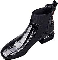 OHQ Botines Martin Mujer Cabeza Cuadrada De Grosor con Patas Charol Invierno Botas Cortas BritáNicas De Viento Punta TacóN Casual Negras Zapatos De Charol Martin
