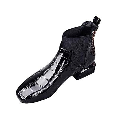 c0541935e2c5e9 Botte Femme Hiver❤️Beautyjourney Boot Hiver Femme Bottine FourréE Quechua  Chaussures Pied Carré éPais Talon