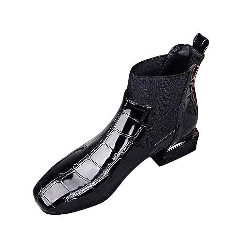Logobeing Botas de Mujer Piel Calzado de Mujer con Punta Cuadrada Tacón Grueso Botas Casual Zapatos De Mujer Charol Martin Boots: Amazon.es: Zapatos y ...