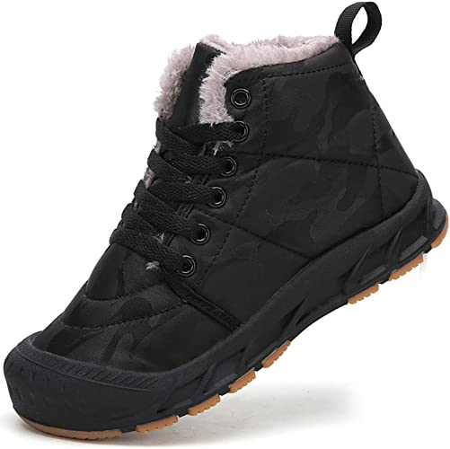 Kids Boys Girls Trainers Winter Warm Fur Lined Ankle Boots Shoes Sneakers Size