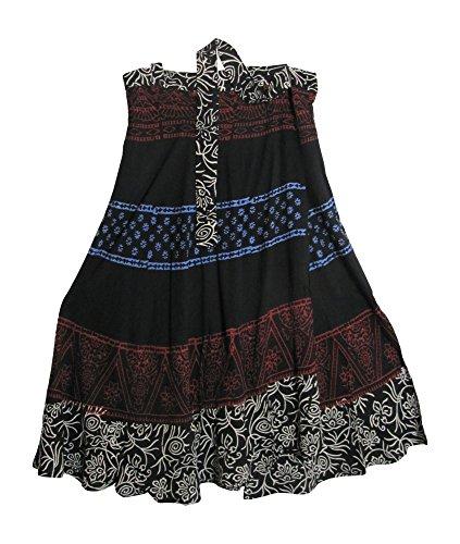 Yoga Trendz Indian Bohemian Elephant Ethnic Print Wrap Around Hippie Gypsy Mid-Length Skirt (Black Paisley)