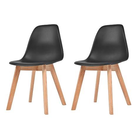 Xinglieu 2 Unidades sillas de Comedor Negras sillas de ...