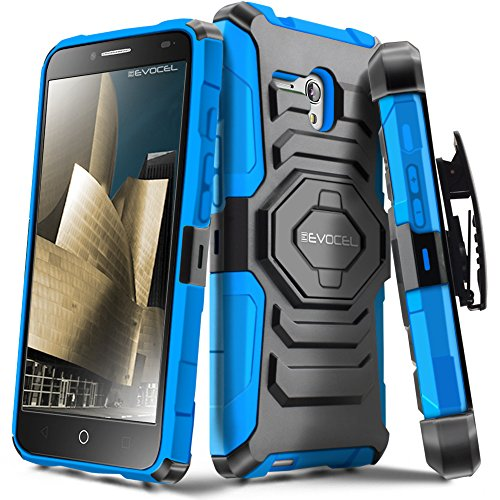 Alcatel OneTouch Fierce XL Case, Evocel [New Generation Series] Belt Clip Holster, Kickstand, Dual Layer for Alcatel OneTouch Fierce XL 5054 (2015 Release), Blue (Alcatel One Touch Fierce Prepaid Cell Phone)