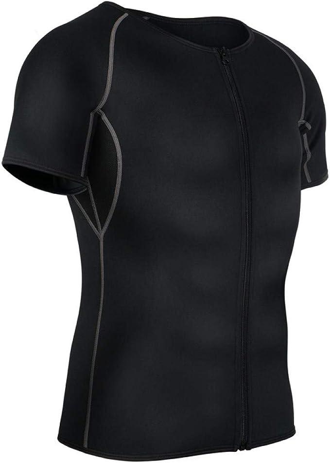 KAZOGU Gray Lines Cremallera Body Shaper Compresión Camisa para Adelgazar Neopreno Cintura Entrenador Control de Barriga: Amazon.es: Ropa y accesorios