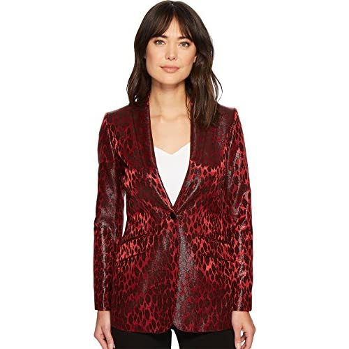 Anne Klein Women's Animal Jacquard Boyfriend Jacket for cheap