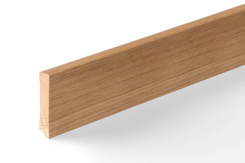Modern Holzleisten 80mm f/ür Parkett und Laminat Eiche ✓Echtholz Fu/ßleiste ✓hochwertige Furnier Oberfl/äche Parkettleiste Bodenleiste 16x80x2500mm KGM Sockelleiste Eiche unbehandelt