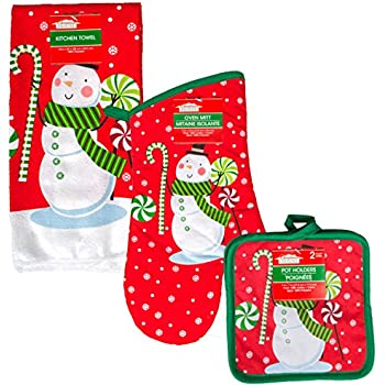 Snowman 5 Pc Christmas Kitchen Linen Set