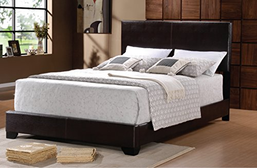 [Home Source 50902028 Milan Collection Asian Hardwood Faux Leather Bed, Queen, Dark Brown] (Asian Bed)