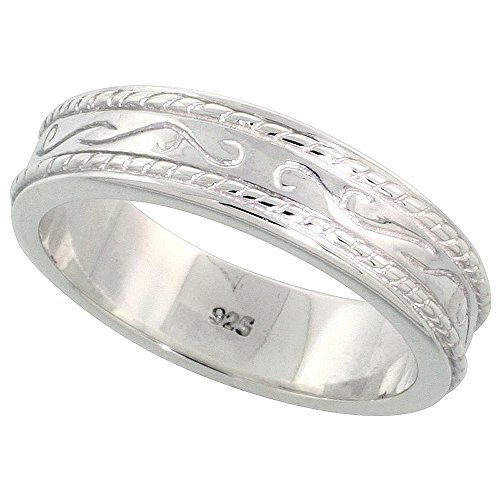 Sterling Silver Ring / Wedding Band Rope Inlay Engraved center Flawless Polished Finish 7/32 inch size 6