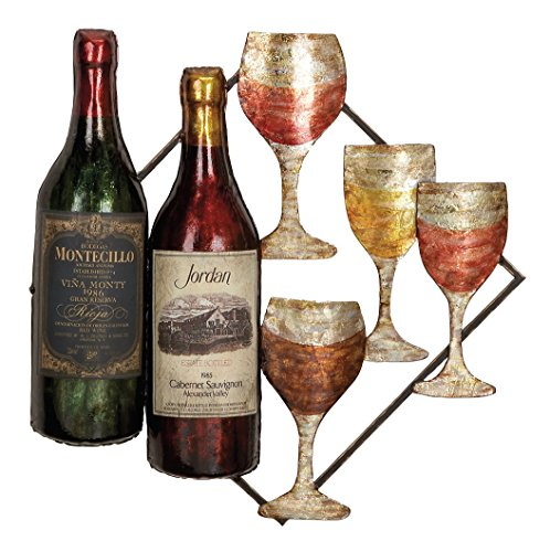 Metal Wine Bottle Grapes (Deco 79 68020 Metal Wine Wall Decor)