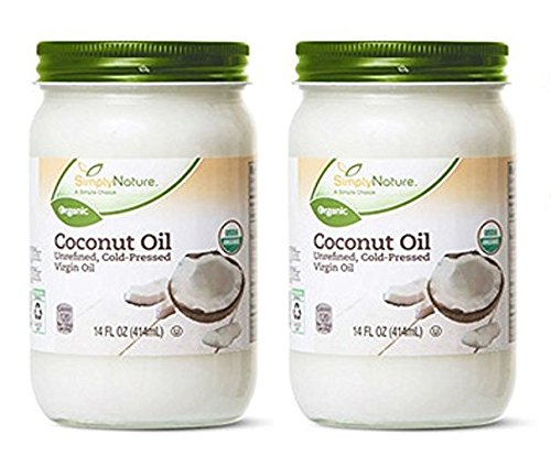 2-Pack Simply Nature Organic Coconut Oil Unrefined, Cold-Pressed Virgin Oil, (14 fl oz/each) (Simply Coconut Oil)