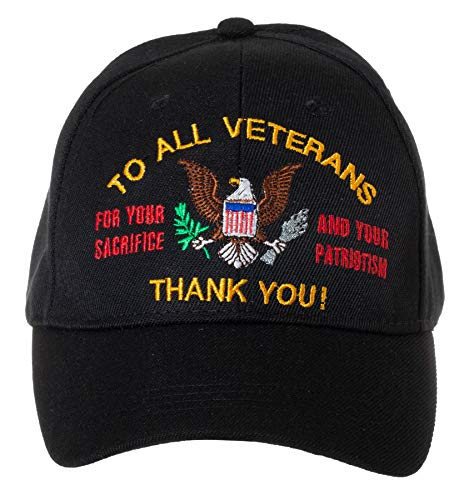 To All Veterans Thank You American Eagle Patriotic Embroidered Black Adjustable Baseball Cap