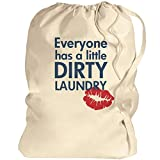 Dirty Laundry Red Lips: Canvas Laundry Bag