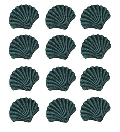 Chesapeake Bay Cast Iron Drawer Pulls Blue Verdirgris Cast Iron Scallop Shell Drawer Pull Set of 12 2.5 X 2 X 1.5 Inches Teal by Chesapeake Bay