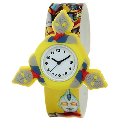 Kids Lovely 3D Cartoon Analog Altman Untraman Spinner Rotating Case Waterproof Silicone Slap On Rubber Band Arabic Numerial Dial Children Toddler Wristwatches Time Teacher Boys Girls Fashion Watches