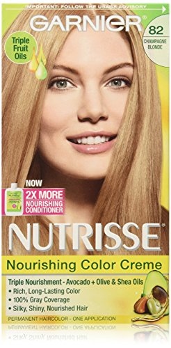 Garnier Nutrisse Nourishing Hair Color Creme, 82 Champagne Blonde (Champagne Fizz)  (Packaging May (Blonde Creme)