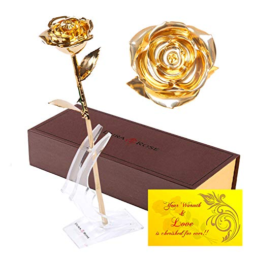 DuraRose Artificial Rose with Long Stem Dipped in 24k Gold Everlasting, with Stand and Love Card - Best Gift for Loves Ones. Ideal for Valentine's Day, Mother's Day, Anniversary, ()