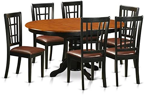 KENI7-BCH-LC 7 PC Dining room set-Dining Table and 6 Wooden Kitchen Chairs