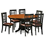 Cheap East West Furniture KENI7-BCH-LC 7 Piece Dining Table and 6 Wooden Kitchen Chairs Set