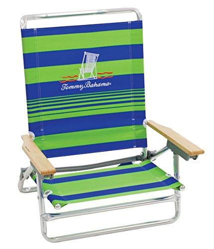 Tommy Bahama 5-Position Classic Lay Flat Folding Beach Chair - Green Stripe
