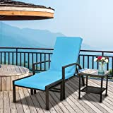 Kinbor 2PCS Outdoor/Indoor Patio Adjustable Brown PE Wicker Pool Garden Balcony Beach Chaise Lounge Chair with Square Side Tea Table Furniture Footrest w/Blue Cushion