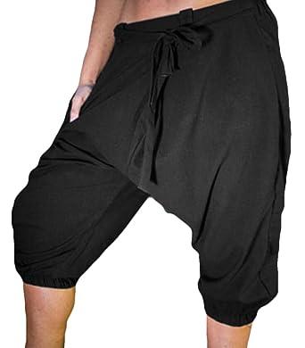 cf53e685308 KLJR-Men Plus Size Loose Elastic Waist Drawstring Capri Shorts Black US XS