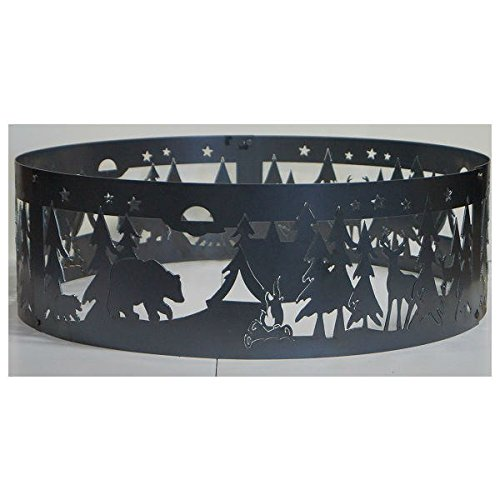 PD Metals Steel Campfire Fire Ring Northwoods Campground Design - Unpainted - Large 48 d x 12 h Plus Free - Fire Ring Northwoods