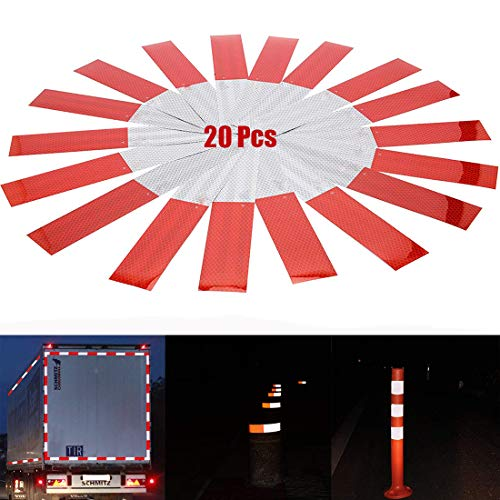 BULLKEYS Reflective Tape Safety Warning Stickers 20Pcs DOT-C2 Reflector Conspicuity Tape Stickers High VisibilityWaterproof Cars, Motorcycles, Trucks DIY Decoration 20Pcs