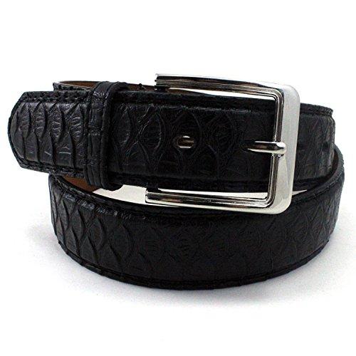 Enimay Men's Snake Embossed Patterned Bonded Leather Casual Dress Belt D015 Black Medium