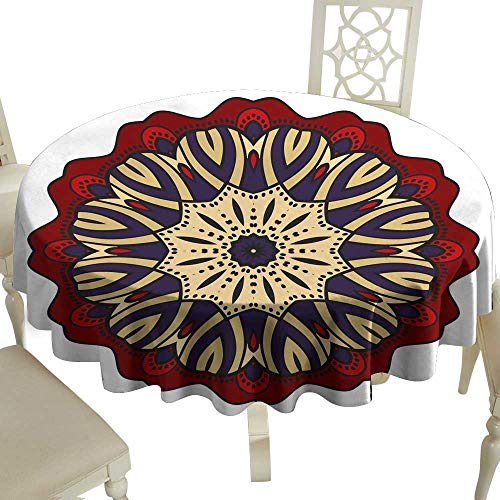 WinfreyDecor Polyester Tablecloth Flower Mandala Printable Package Decorative Elements Coloring Page Template It is Vector Illustrations Indoor Outdoor Camping Picnic D35]()