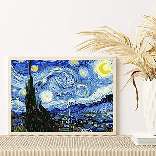 5D Diamond Painting Kits, DIY Round Full Drill Diamond Art Kit, Crystal Rhinestone Embroidery Pictures, Diamond Arts Craft for Home Wall Decor, Van Gogh Starry Sky, 12 x 16 inch