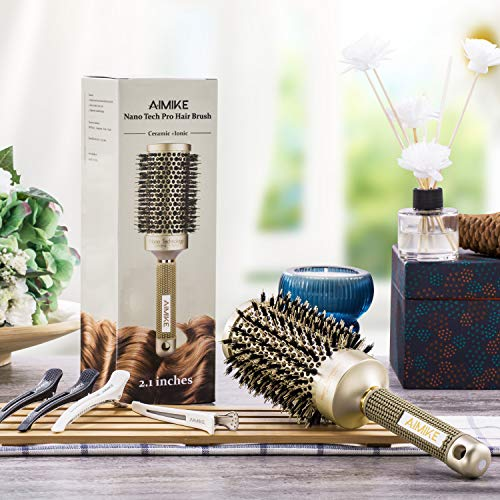 Round Brush, Nano Thermal Ceramic & Ionic Tech Hair Brush, Round Barrel Brush with Boar Bristles, Enhance Texture for Hair Drying, Styling, Curling and Shine (Barrel 2.1 inch) + 4 Free Clips by way of Aimike