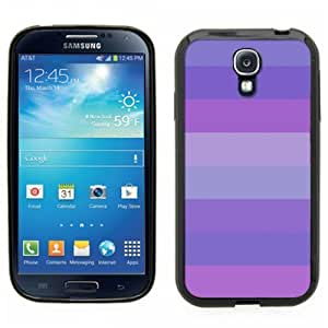 Samsung Galaxy S4 SIIII Black Rubber Silicone Case - Shades of Purple Lines Stripes Cute