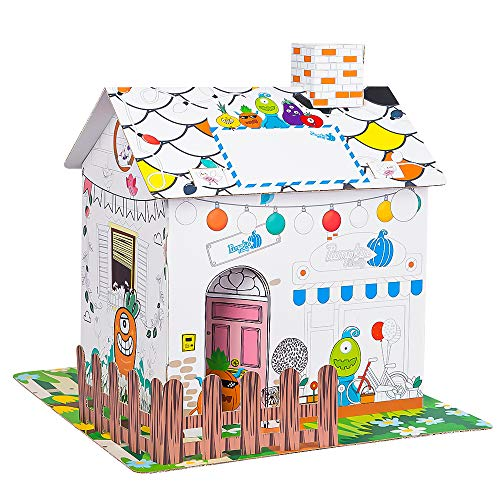 """Youwo Country Cottage Coloring Playhouse for Kids (Vibrant Exterior Artwork, 12.9"""" H x 9.4"""" W x 11.8"""" L)"""